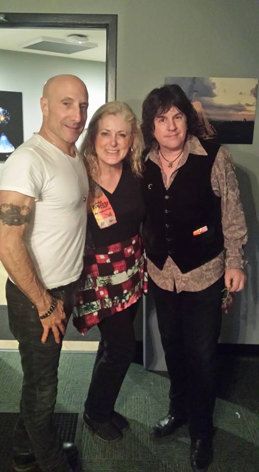 Mary Kelly backstage with John Fogerty's band, Kenny Aronoff and Bob Malone