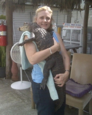 Mary Kelly and an alligator, because the sign said No Dogs Allowed