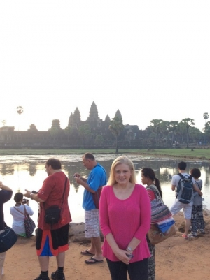 Mary Kelly at Angkor Wat Cambodia