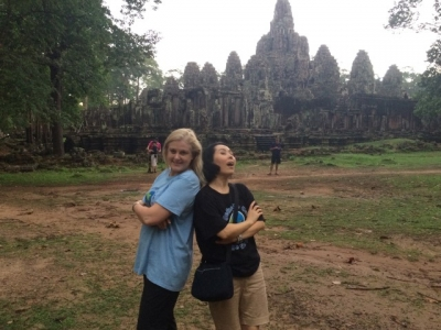 Mary Kelly in Cambodia - TWCCTW fundraising - provide clean water and build schools - Angkor Wat