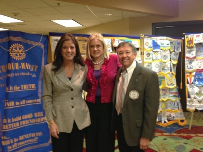 Rotary Club of Denver Southeast - Mary C Kelly with Debra Fine, past prez, and current president Ed Meyer