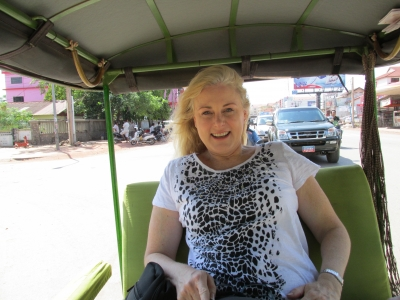 Mary Kelly in a tuk-tuk