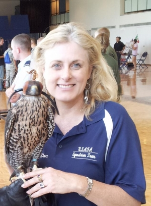 Mary Kelly with USAFA Falcon