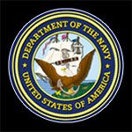 Contact Mary Kelly - Department of the Navy Badge with Pinline on Black Background