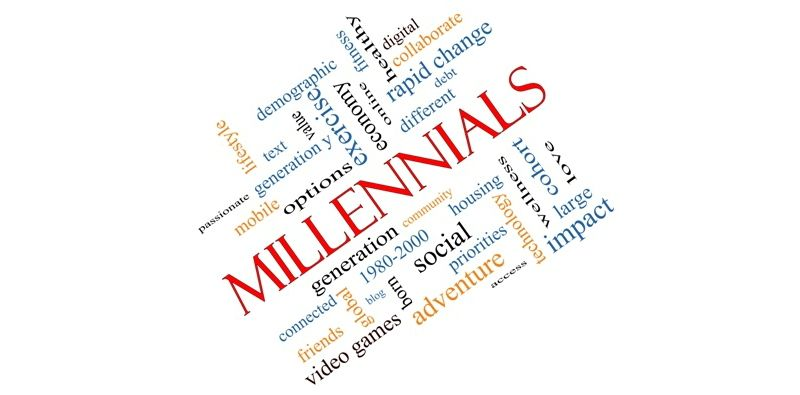 Millennials Word Cloud Concept angled