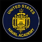 Contact Mary Kelly - Naval Academy Badge with White Pinline on Black Background