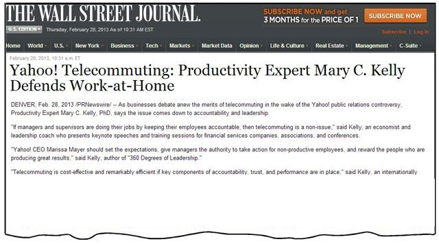 Newspaper Clips - WSJ Yahoo Telecommuting - Defends Work at Home
